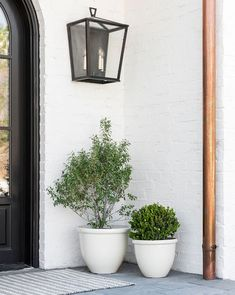 Front Door Landscaping, Farmhouse Landscaping, Modern Landscaping, Backyard Landscaping, Modern Front Porches, Farmhouse Front Porches, Front Porch Plants, Pot Sets, Front Door Decor