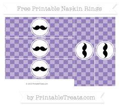 Free Pastel Dark Plum Checker Pattern Mustache Napkin Rings