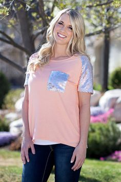 Brooklyn Sequins Tee- Coral. Sequins is too fabulous not to wear year-round! Sequins sleeves and pocket detailing.