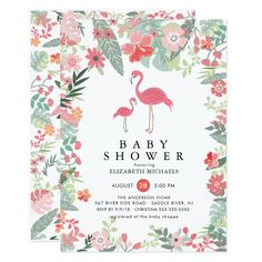 Tropical Flamingo Baby Shower Invitation #Elegant handpainted #watercolor #weddinginvitations Make your day special with these unique #wedding #invitations ideal for your wedding #party #cards and #stationary
