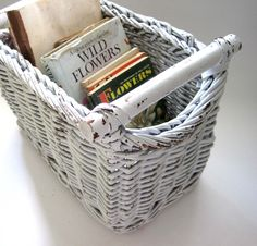 White Wicker Magazine Holder, Boho Vintage, Chippy White Display, Shabby Chic, Farmhouse Chic, Bohemian Decor, Beach, Cookbook Holder by SharetheLoveVintage on Etsy