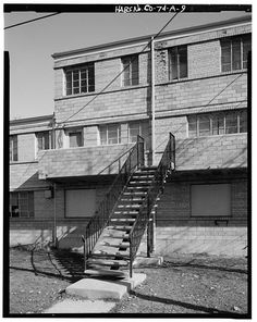 Detail of second-story balcony at rear of three-story section of Type A residential building.  View to east. - Lincoln Park Homes, Type A Residential Building, West Colfax Avenue & Marispoa Street, Denver, Denver County, CO
