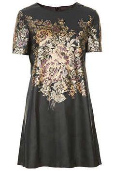 FLOWER PRINT PU SHIFT DRESS