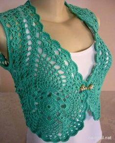 Crochet Bolero Pattern, Gilet Crochet, Crochet Cardigan, Crochet Lace, Free Crochet, Crochet Patterns, Crochet Shrugs, Crochet Sweaters, Sewing Patterns