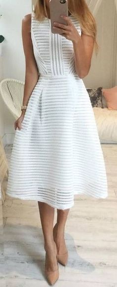 #outfit #ideas / white striped dress