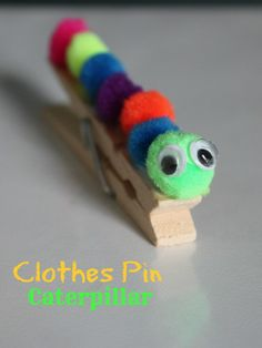 Clothes pin caterpillar DIY kids craft  These turned out SUPER cute, and were SUPER easy! I made a line of glue on the clothes pin, and let the girls pick the colors and arrange them however they liked :)