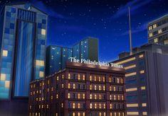 EXT. PHILADELPHIA TIMES BUILDING - NIGHT