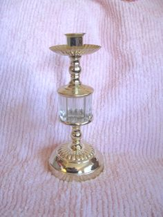 RARE Vintage Gold Metal & Crystal USA Candle Holder 1970's Shabby Chic Taper or Votive Cup Ornate Metal Hollywood Regency by VintageChicPleasures on Etsy