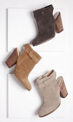 Suede slingback booties with laser cut detailing, side buckle and stacked heel