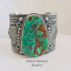 AAA Natural Gem Grade Pilot Mountain Turquoise & Sterling Silver Large Cuff Bracelet artist signed Darryl Cadman | online upscale native american jewelry boutique gallery| Schaef Designs Southwestern turquoise Jewelry |  New Mexico