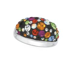 Sterling Silver Rainbow Crystal Dome Ring