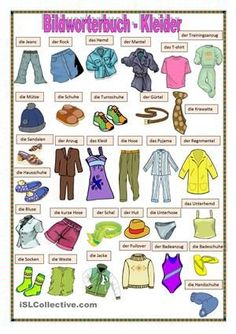 Clothes Vocabulary: Learn Clothes Name with Pictures - ESLBuzz Learning English Learning English For Kids, German Language Learning, Kids English, English Study, Teaching English, Teaching Spanish, Spanish Language, French Language, German Grammar