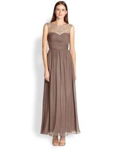 Aidan Mattox | Metallic Silk Chiffon Gown #aidanmattox #gown