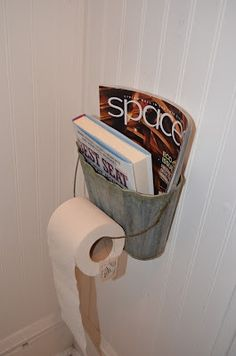 Metal basket as magazine and toilet paper holder