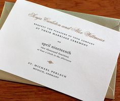 Black and gold wedding invitation with matching gold envelope.  | Invitations by Ajalon | invitationsbyajalon.com