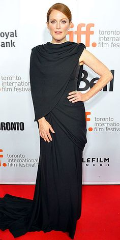 Toronto Film Festival | JULIANNE MOORE | We're jealous that Julianne gets to star alongside Robert Pattinson in Maps to the Stars, but we're just as jealous that she gets to wear this stunning asymmetrical draped Giambattista Valli Couture gown to the premiere of the film.
