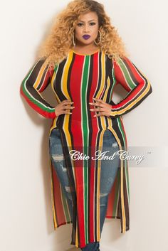 67a2cf422d2 Final Sale Plus Size Striped Long Sleeve Mesh Top with Front High Slit –  Chic And Curvy
