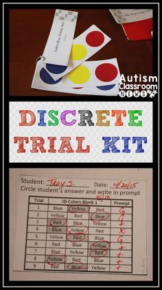 I mentioned my new discrete trial kit in my last post and I wanted to share some more details and some updates that are coming for it.  The original one that is currently posted focuses on receptive ID of colors.  As I was thinking about the next steps, I realized that it didn't make much sense to create a new kit for matching colors because many of the materials were going to be very similar.  So, I decided that I'm going to update the current discrete trial kit to include matching colors…