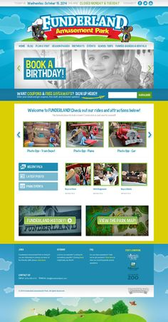 Responsive website re-design & development for Funderland Amusement Park in Sacramento, CA. This is the only amusement park for children located near the Sacramento Zoo. Website design, ui design, ux design, mobile, responsive.