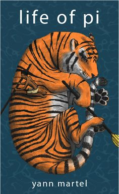 "Illustrated book cover for Life of Pi by Yann Martel. Although his first language is French, Yann Martel writes in English: ""English is the language in which I best express the subtlety of life."" Born in 1963."