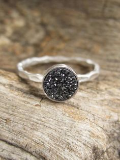 BROWSE SHOP FOR ALL COLORS  FINISHES!  Tiny Black Druzy Ring Titanium Drusy Quartz by julianneblumlo, $58.00