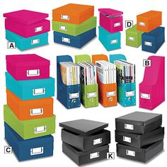 Enjoy an organized and attractive office when you use colorful Document Boxes and Files to store everything from bills to magazines to your CD collection.   #backtoschool