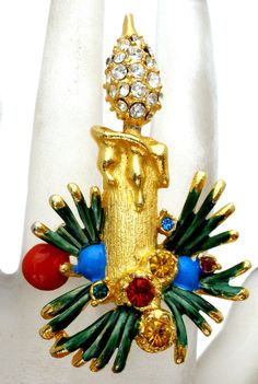 Vintage Christmas Candle Brooch Holly Berry Enamel Green Red Blue Rhinestone Pin #Unbranded #Christmas