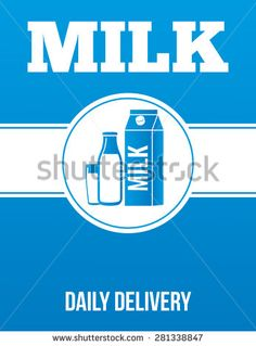 Milk delivery advertising poster, banner for promotion.