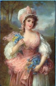 X1293 Victorian Woman postcard, Meissner & Buch 2272, Edge wear                                                                                                                                                      More