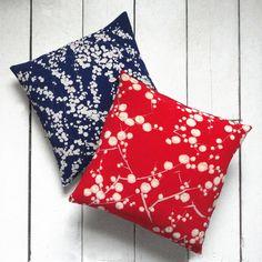 """SALE : Blue & white Vintage Kimono Fabric Pillows 'Cherry Blossom and Sky' (1960 - 12"""" x 12""""). $28.00, via Etsy."""