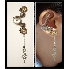 Steampunk Dangly Key Violin Horse ear cuff ❤ liked on Polyvore featuring jewelry, earrings, wire jewelry, ear cuff jewelry, steam punk jewelry, steampunk jewelry and horse jewellery