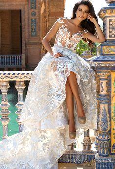 Crystal Design 2017 bridal cap sleeves v neck full embellishment glamorous romantic princess lace ball gown a  line wedding dress lace back chapel train (ivis) mv