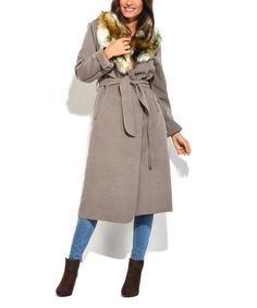 Cozy faux fur-trimmed lapels lend delightful texture to this smart trench coat. Cold Weather Fashion, Fur Trim, Trench, Faux Fur, That Look, Duster Coat, Gray, My Style, Jackets