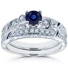 Annello by Kobelli 14k White Gold Sapphire and 1/3ct TDW Diamond Filigree Milgrain Bridal Set