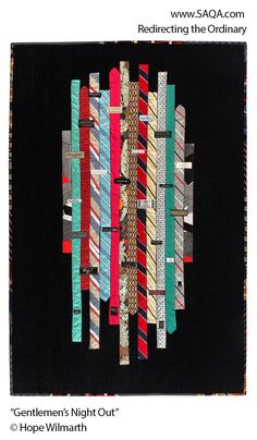 "This would be a great back to my tie quilt.""Gentlemen's Night Out"" by Hope Wilmarth Quilting Tips, Quilting Projects, Quilting Designs, Modern Quilting, Mens Ties Crafts, Tie Crafts, Necktie Quilt, Tie Pillows, Old Ties"