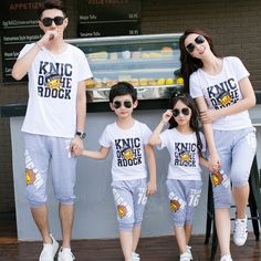 2017 New summer children Parent clothes set new cartoon Duck short sleeved sportswear casual mother and daughter outfits