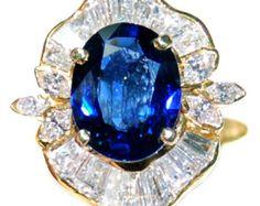 18K Yellow Gold Diamond Eternity Gemstone Blue Sapphire Ring