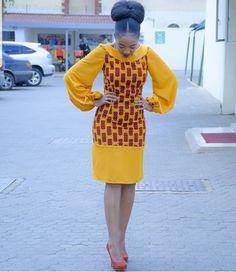 African print Midi dress with balloon sleeves/Ankara/African Clothing/African Fashion/Ankara Clothing/Kente African Fashion Ankara, African Inspired Fashion, Latest African Fashion Dresses, African Print Fashion, African Wear, African Attire, African Style, Africa Fashion, African Women