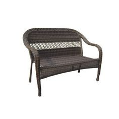 Garden Treasures Severson Textured Black Steel Woven Patio Loveseat Front Porch