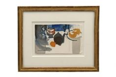 Abstract watercolor still life paintingl on paper, by Jacques Petit. France, 20th Century