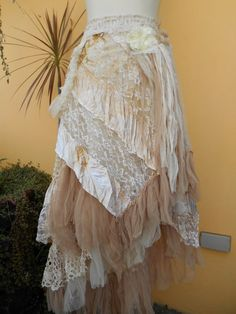 "vintage inspired extra shabby wrap skirt/shawl...a work of art 44""  across plus ties.."