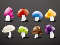 Colorful crystal mushroom vector graphics