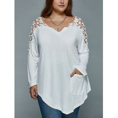590a6b6195ab8 Plus Size Lace Insert Long Sleeve Tunic T-Shirt
