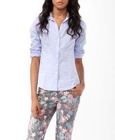 Woven Stretch Shirt | FOREVER21 - 2011547253  I've been looking for a shirt like this forever!