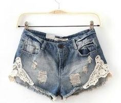 Denim WASH Lace Shorts