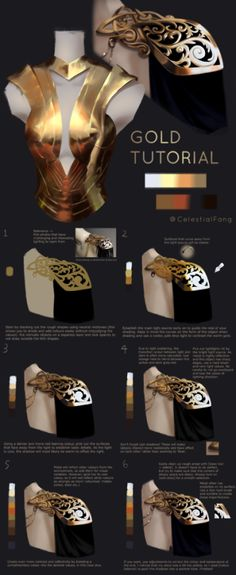 Gold Tutorial Gold Tutorial - Digital paintingYou can find Digital painting tutorials and more on our website. Digital Painting Tutorials, Digital Art Tutorial, Art Tutorials, Digital Paintings, Drawing Tutorials, Concept Art Tutorial, Vegetable Prints, Jewelry Design Drawing, Sketches Tutorial