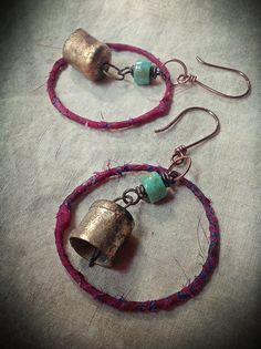 Gypsy bohemian dangle earrings silk wrapped hoops and by quisnam, $35.00
