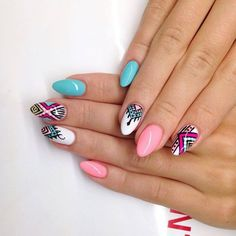 by Ania Leśniewska Idndigo Educator :) Find more inspiration at… sarah_weth Fabulous Nails, Perfect Nails, Gorgeous Nails, Love Nails, Pretty Nails, Tribal Nails, Aztec Nail Art, Indigo Nails, Manicure E Pedicure