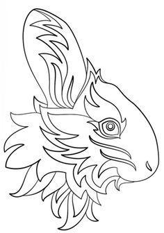 Conejo Abstracto Dibujo para colorear