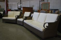 This magnificent three piece patio set with a sofa, loveseat and chair being sold this Friday (May 20th) at a live auction.